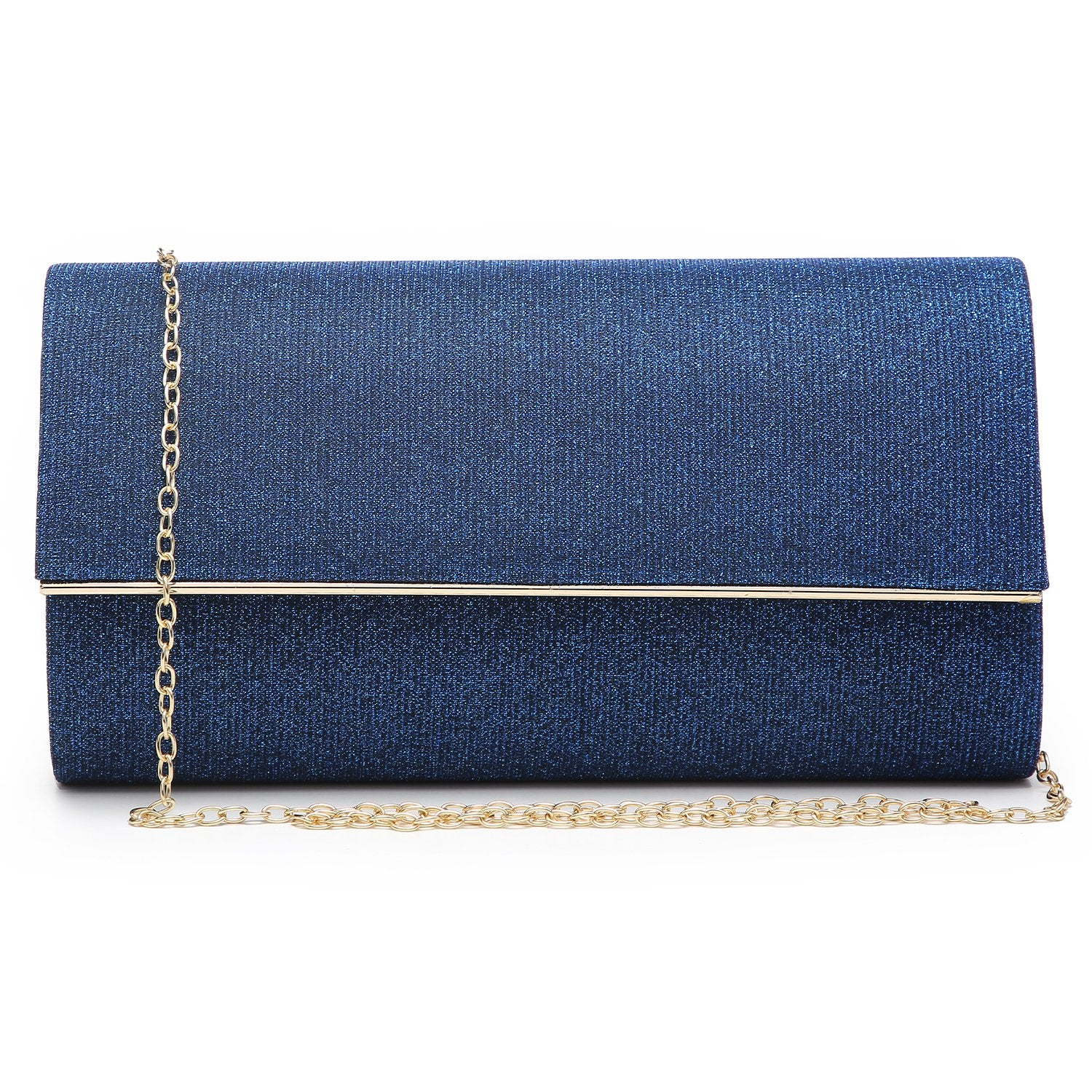Glitter Gold Trim Evening Clutch-Handbags & Purses-Dasein Bags