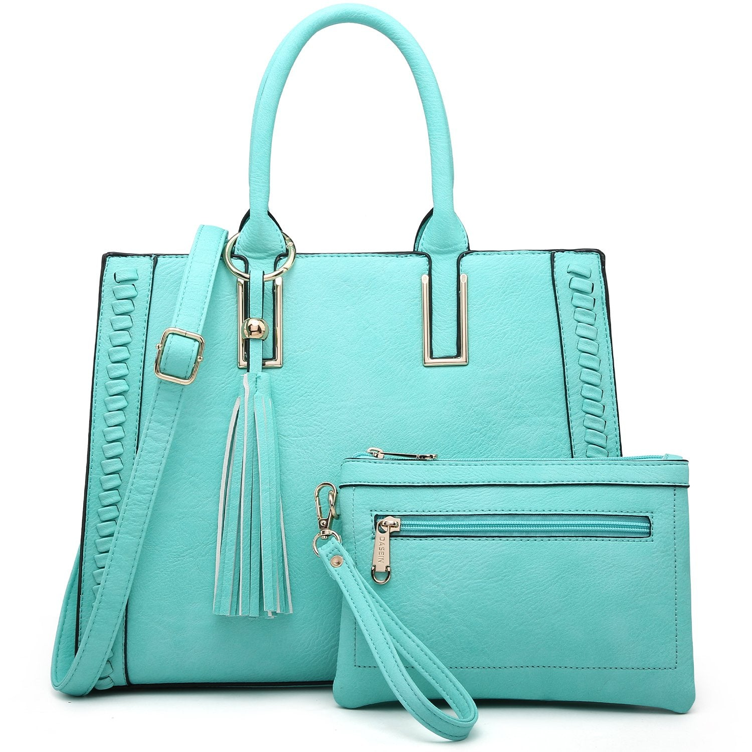 Tassel Weave Two Tone PU Leather Handbag with Matching Wallet丨Dasein
