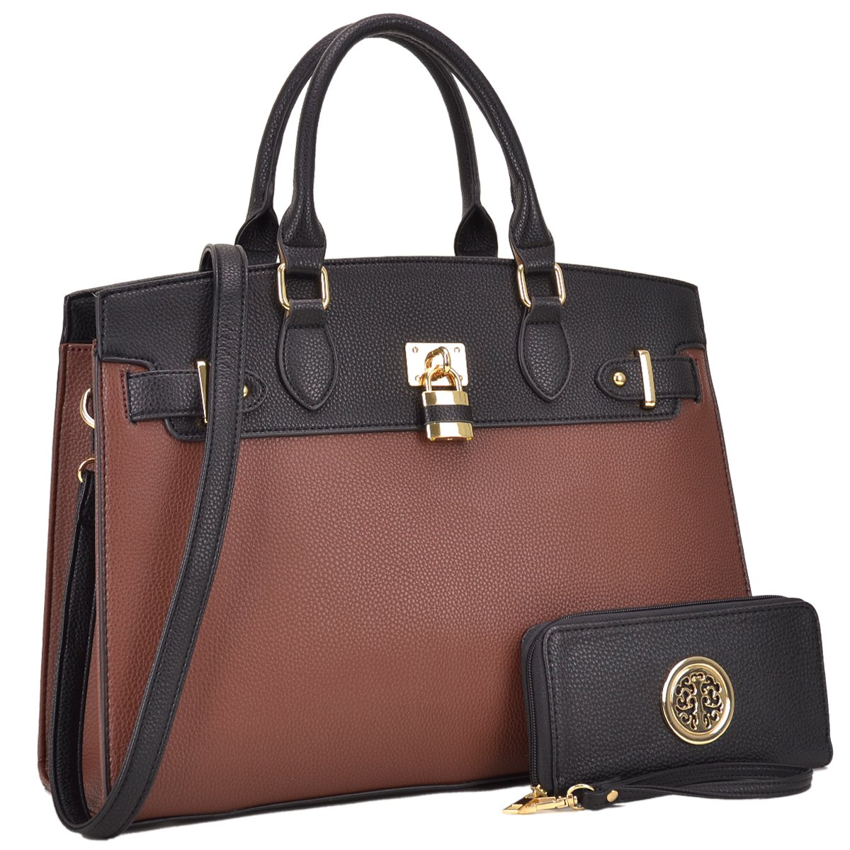 Padlock Two-Tone Satchel with Matching Wallet