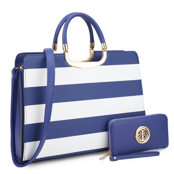 Dasein Womens Fashion Designer Purse Patent Leather Striped Briefcase Satchel with Matching Wallet