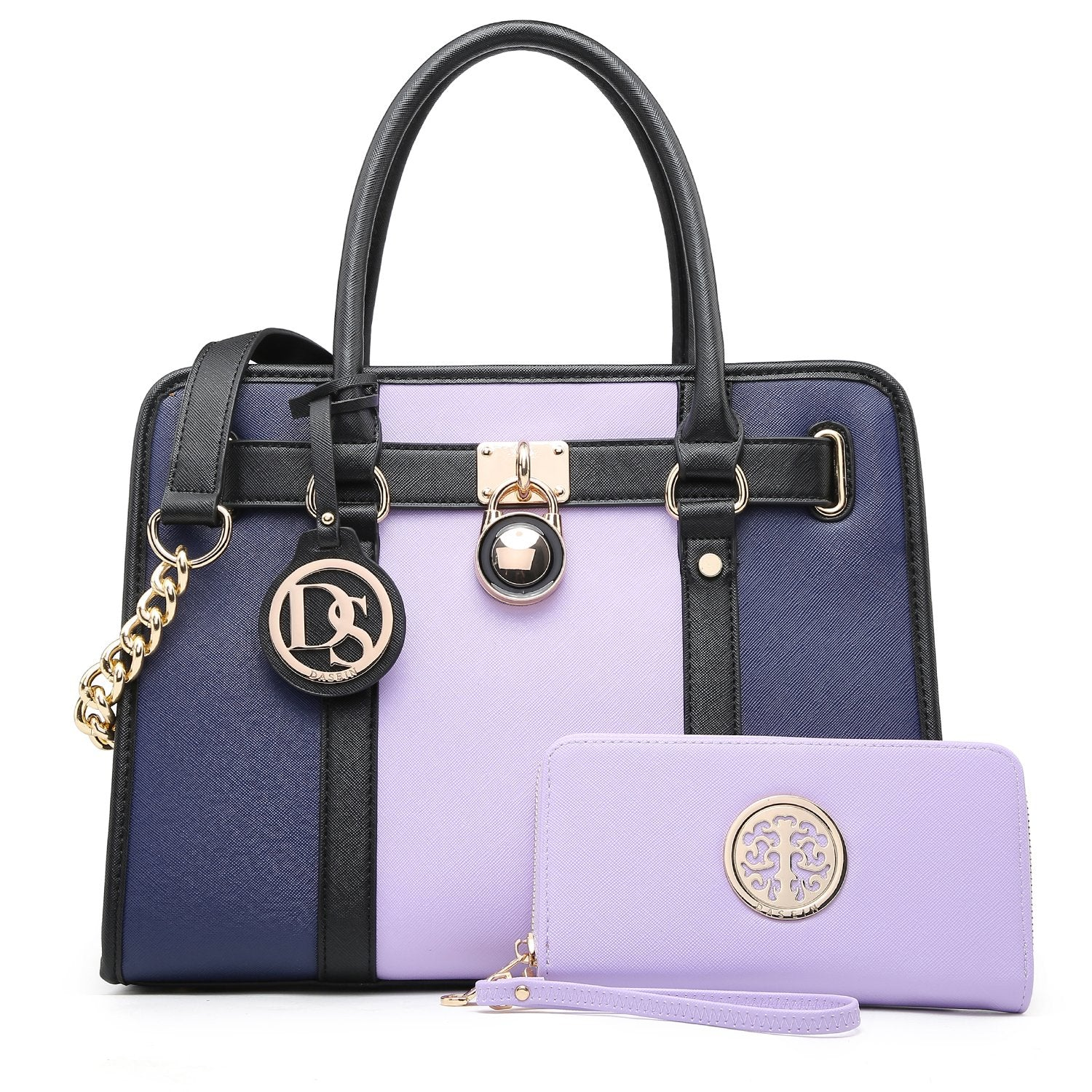 Two Tone Satchel Top Handle Bags Work Tote with Matching Wallet丨Dasein