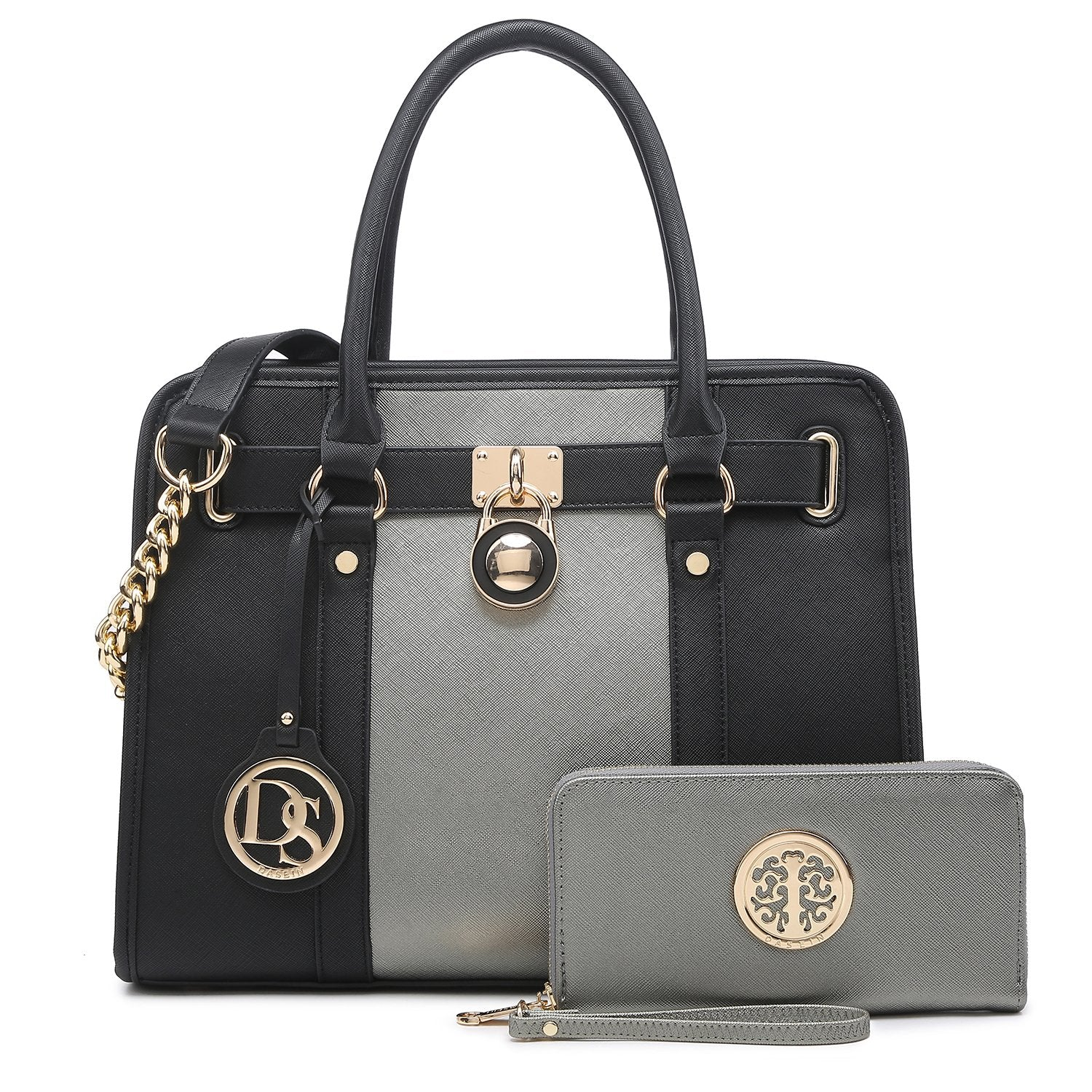 Hanging Emblem Handbag with Matching Wallet-Handbags & Purses-Dasein Bags