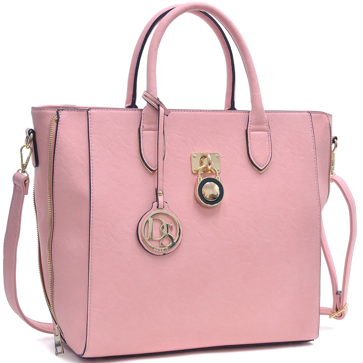 Solid-Color Emblem Tote Handbag-Handbags & Purses-Dasein Bags