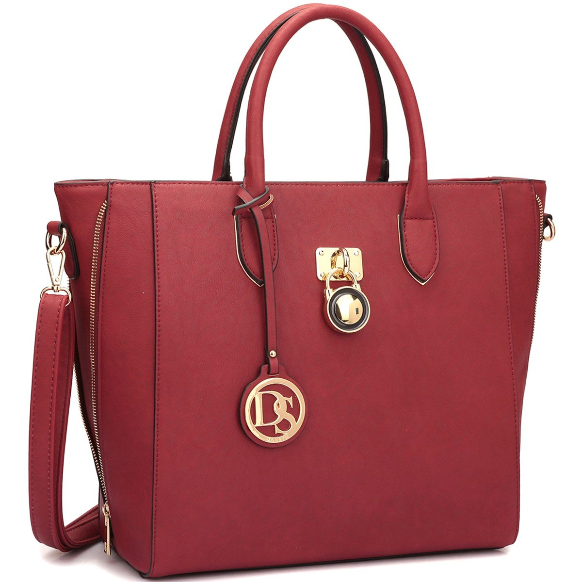 Solid-Color Emblem Tote Handbag