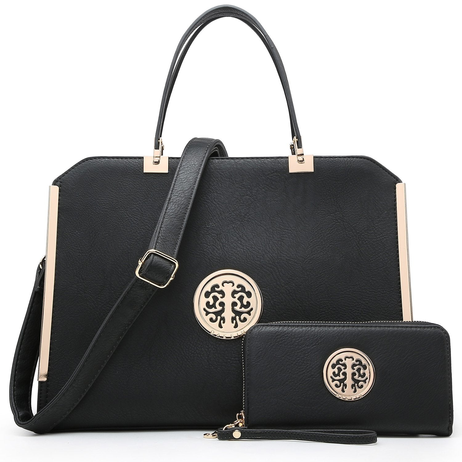 Metal Edged Emblem Handbag with Matching Wallet
