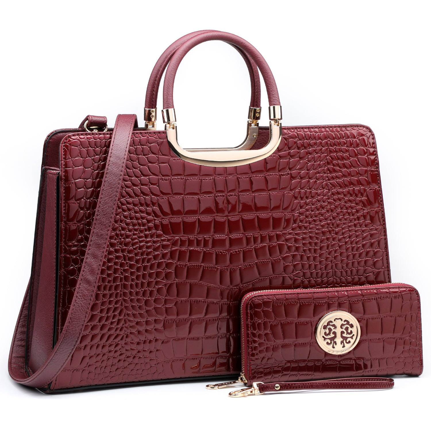 Croco Embossed Handbag with Matching Wallet