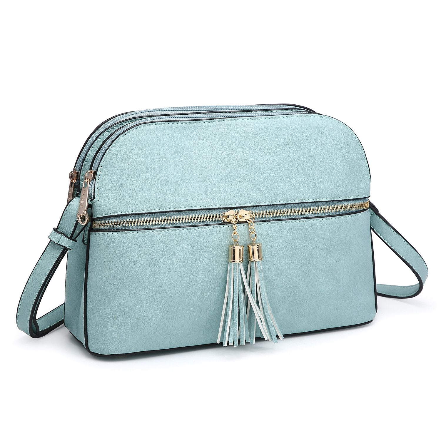 Tassel Front Zipper Crossbody Bag