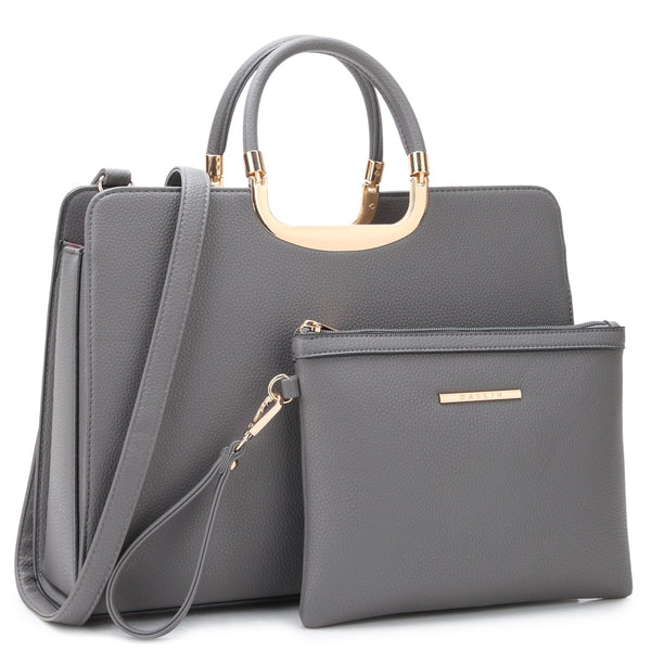 DASEIN Faux Leather Briefcase Satchel with Matching Accessory Pouch