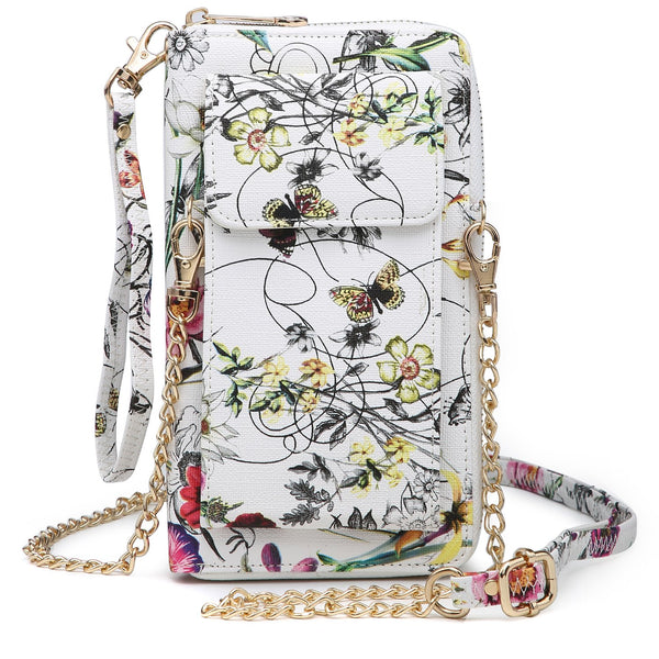 DASEIN All-In-One Fashion Crossbody Wallet, Wristlet, Organizer pouch, with Phone case and Detachable Chain Strap