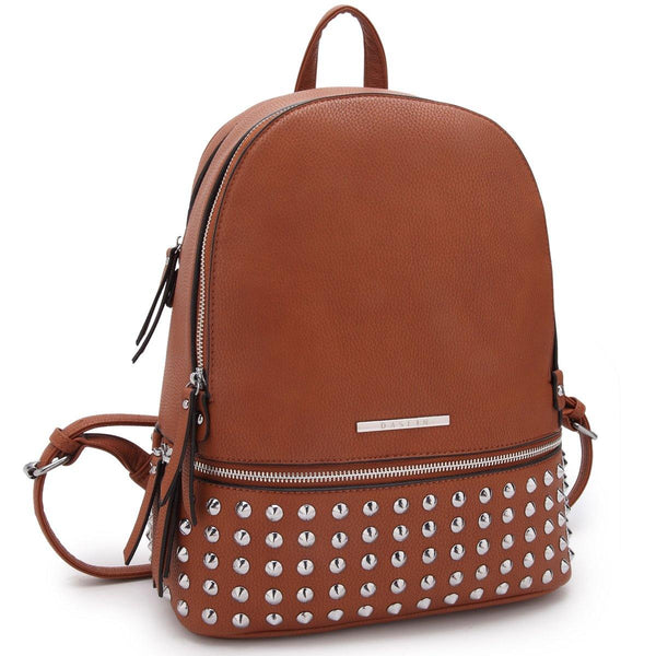 Dasein Medium Fashion Faux Leather Spiked Studded Backpack