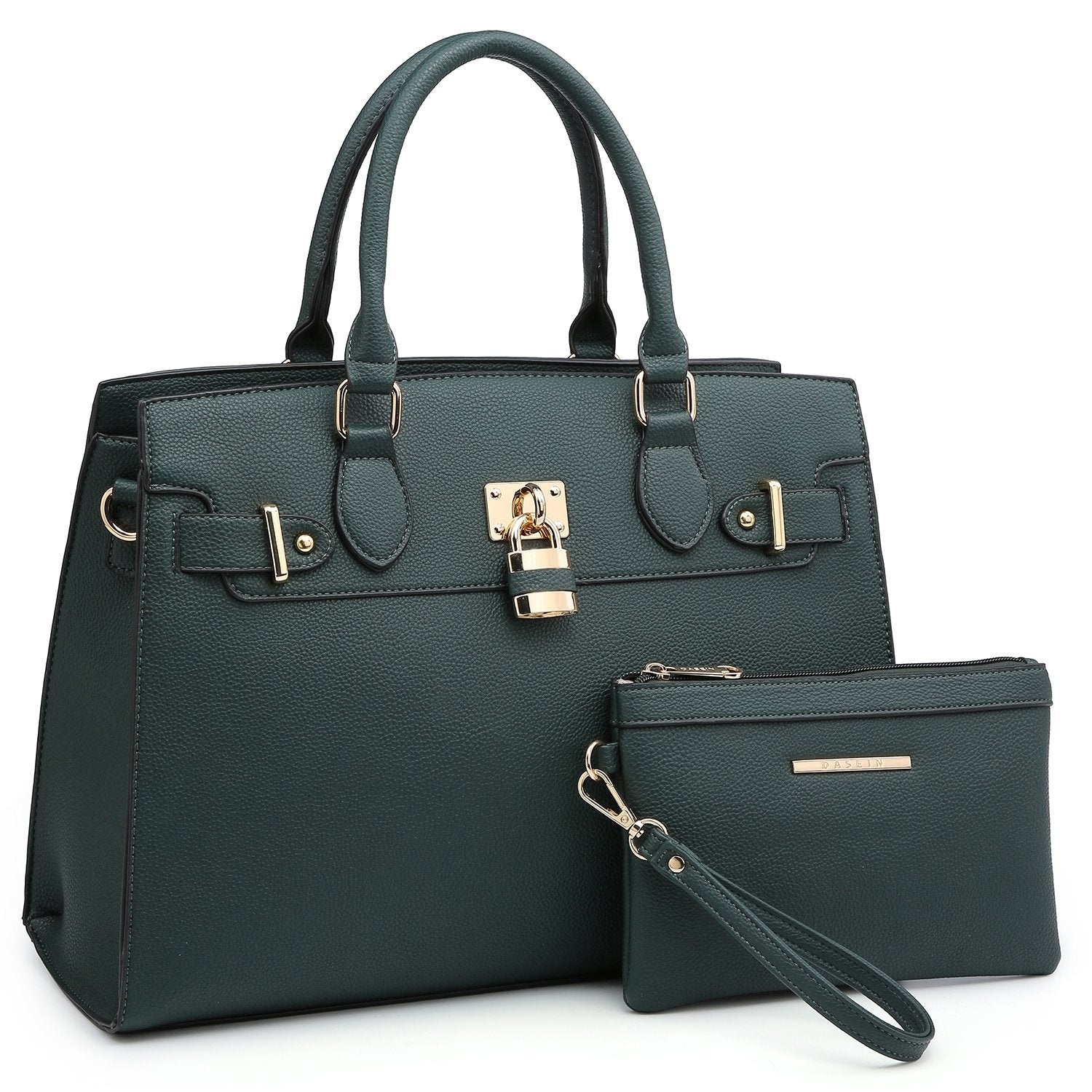 Classic Padlock Handbag with Matching Wallet-Handbags & Purses-Dasein Bags