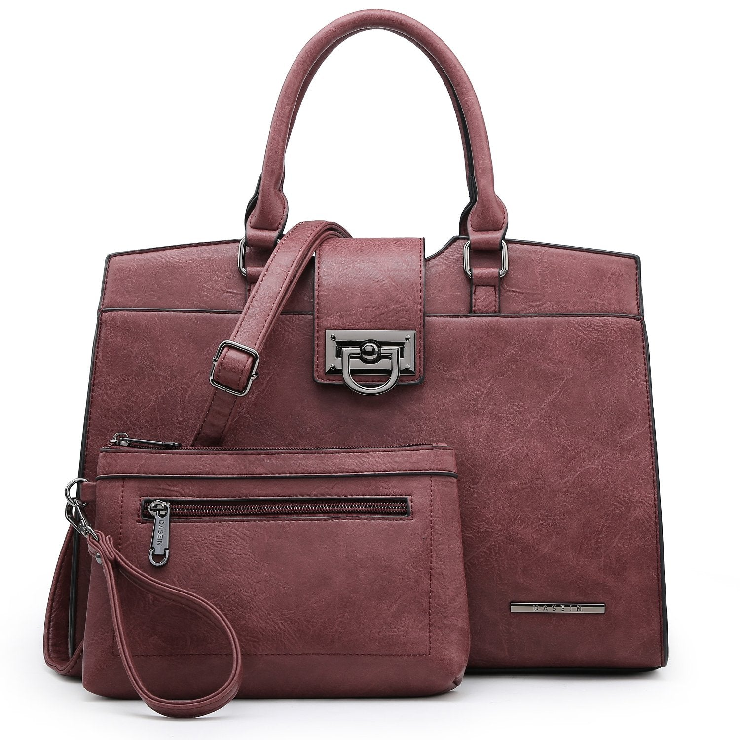 Solid-Color Satchel Handbag with Matching Wallet