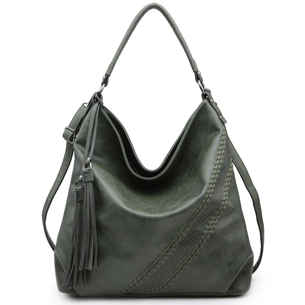 Soft Water Wash Faux Leather Hobo Bag/Shoulder Bag with diagonal stitching deco design and tassel strands