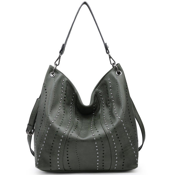 Soft Water Wash Faux Leather Hobo Bag/Shoulder Bag with decorative studs