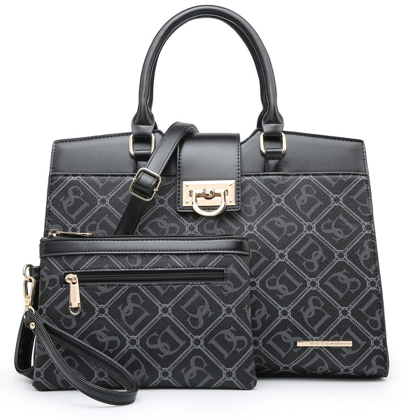 Dasein Monogram/Signature Logo Faux Leather Satchel with decorative front flip belt closure and with Matching Wristlet
