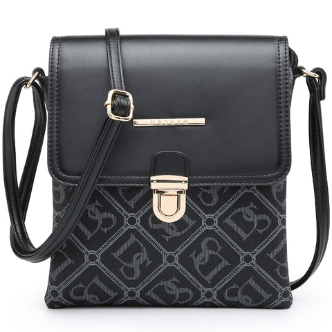 Dasein Monogram/Signature Logo Faux leather crossbody/messenger bag with metal push snap lock