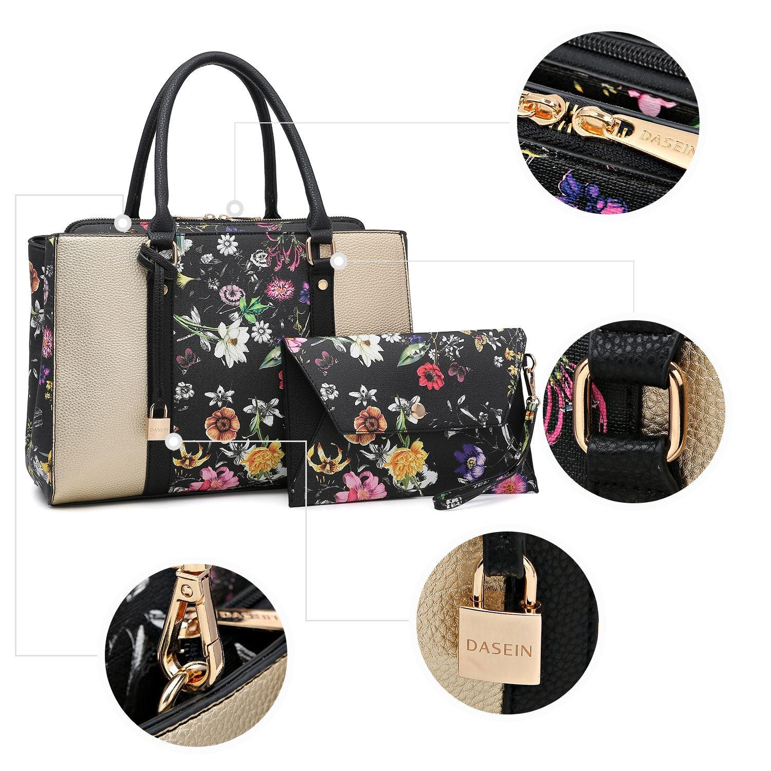 Padlock Two-Tone Satchel with Matching Wristlet