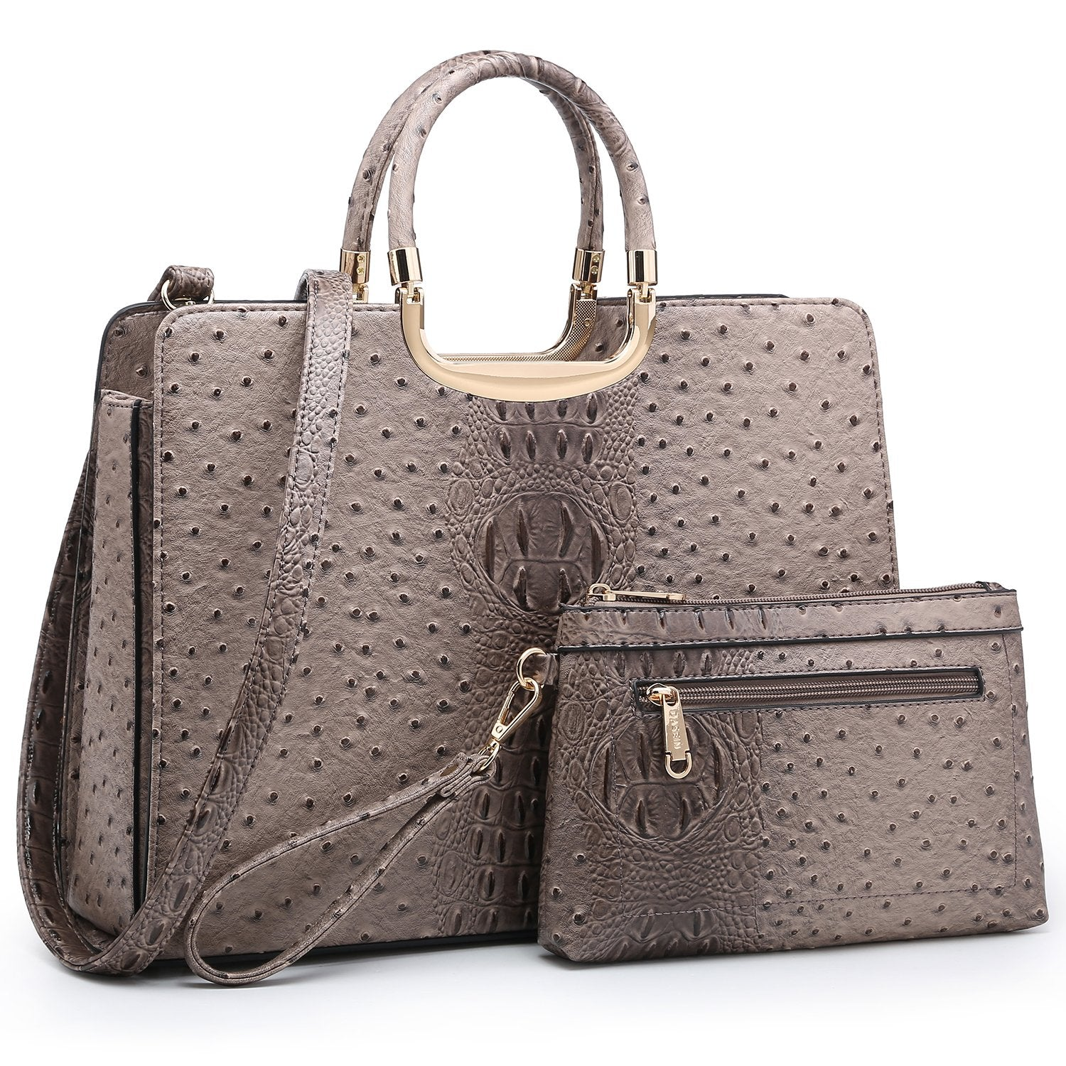 Embossed Pattern Top Handle Handbag with Matching Wallet