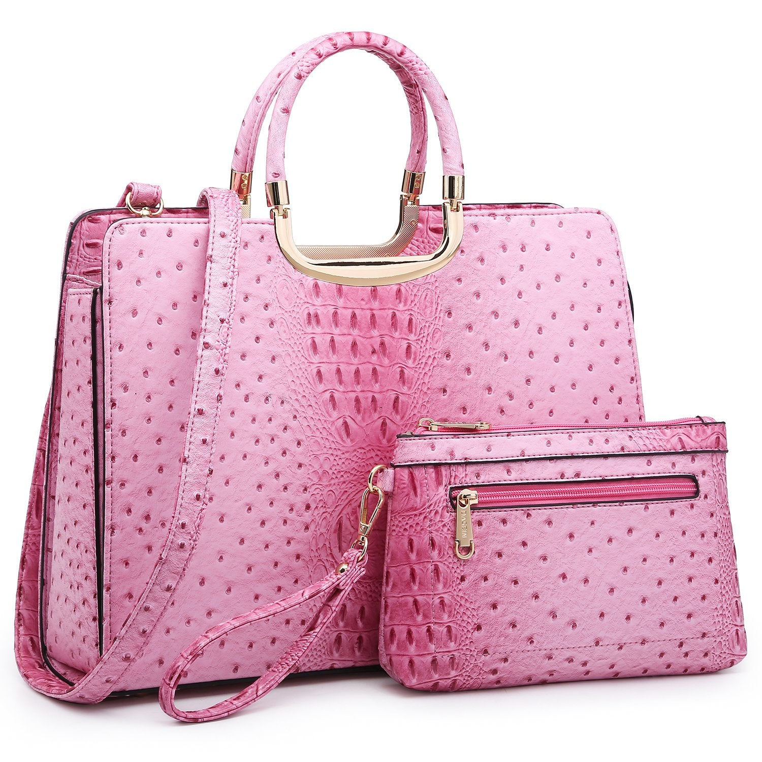 Embossed Pattern Handbag with Matching Wallet