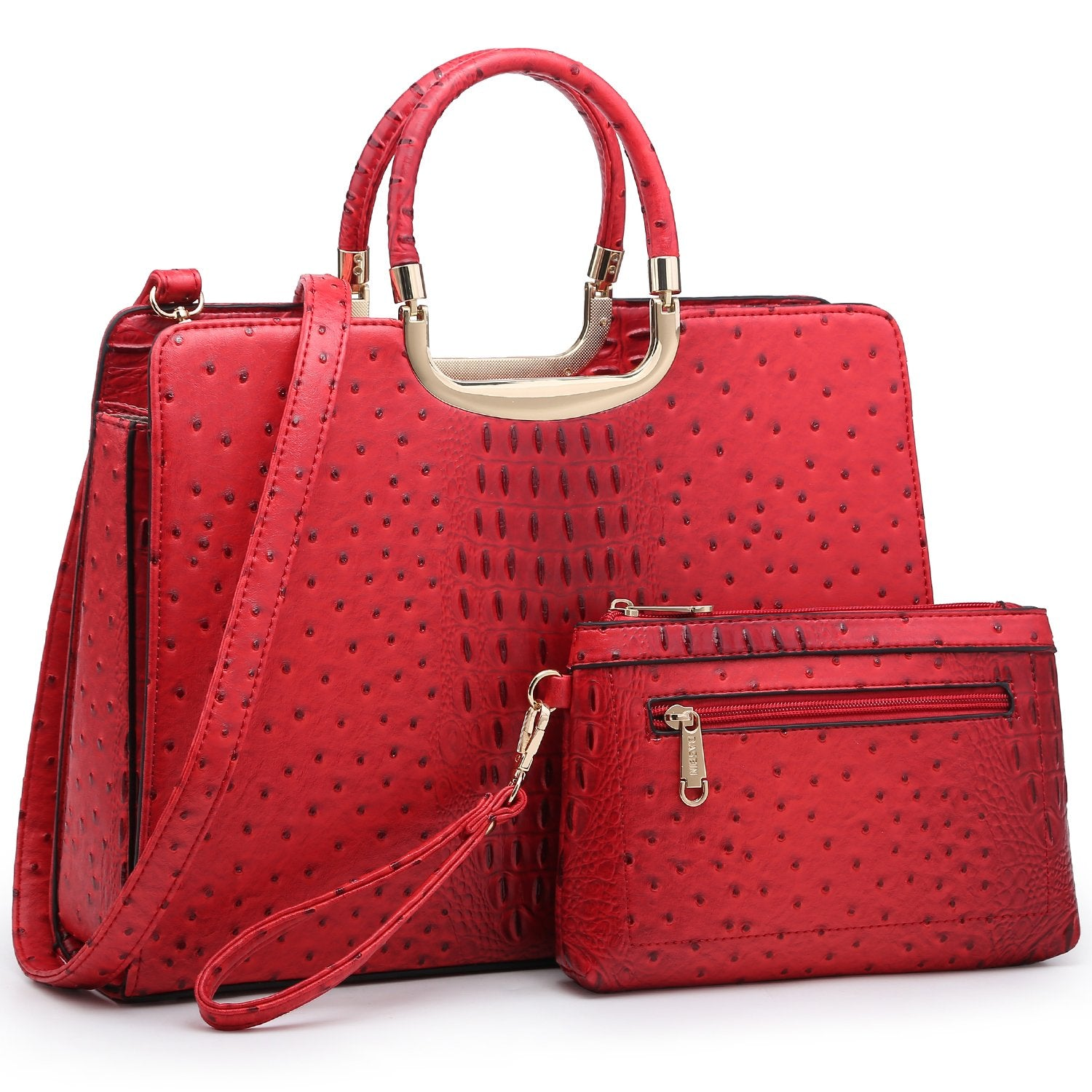Ostrich Embossed Handbag with Matching Wallet-Handbags & Purses-Dasein Bags