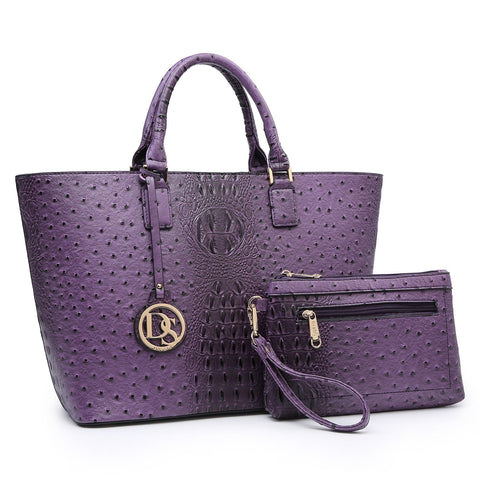 Dasein Ostrich Embossed Tote with Matching Wristlet