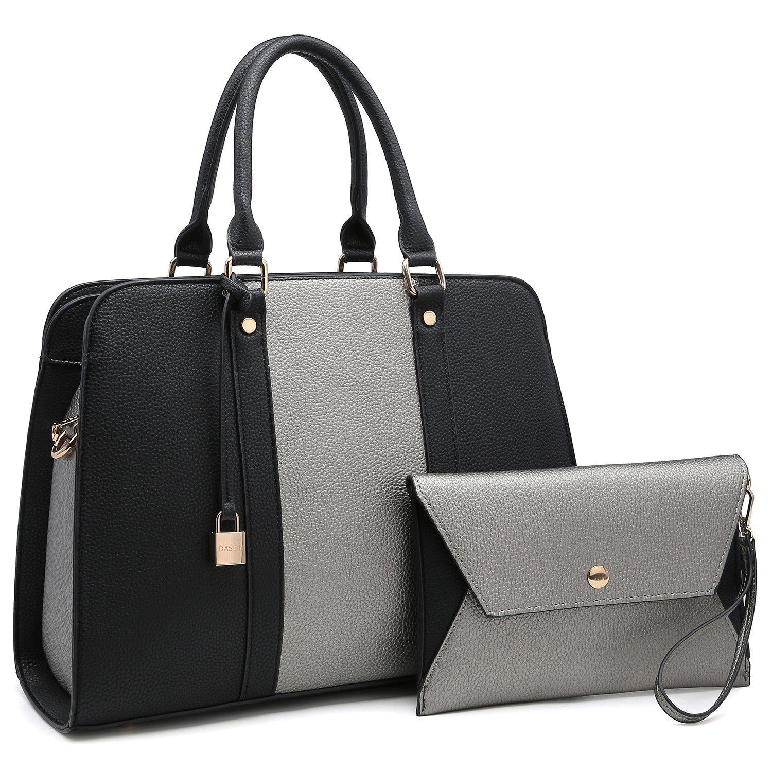 Two-Tone Padlock Satchel with Matching Wristlet