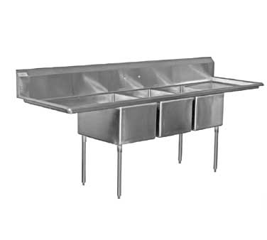 Serv-Ware 3CWPH24242-24, Heavy Duty Three Compartment Sink With Drainboards - Kentucky Restaurant Supply