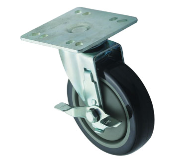 "Winco CT-44B, Caster w/Brake for 4"" x 4"" Universal Plate, 2pcs, 5""Dia - Kentucky Restaurant Supply"