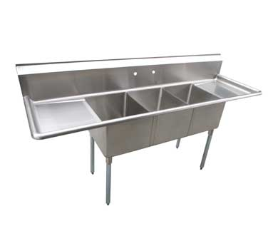 Serv-Ware D3CWP16202-18, Economy Three Compartment Sink With Drainboards - Kentucky Restaurant Supply