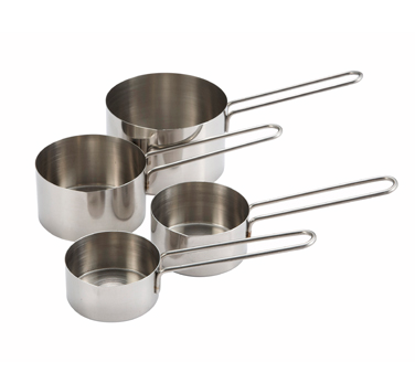 Winco MCP-4P Stainless Steel 4-Piece Measuring Cup Set - Kentucky Restaurant Supply