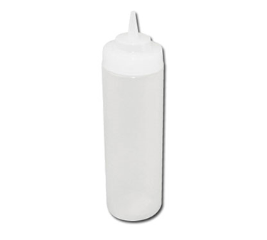 Winco PSW-12, 12oz Squeeze Bottles, Wide Mouth, Clear - 6 pack - Kentucky Restaurant Supply