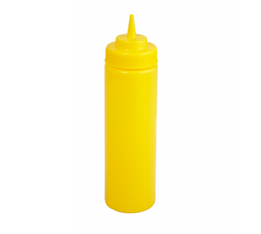 Winco PSW-12Y, 12 Oz. Yellow Plastic Wide Mouth Squeeze Bottle 6 Pack - Kentucky Restaurant Supply