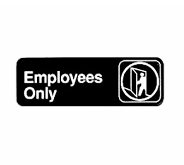 "Winco SGN-305, Information Sign, ""Employees Only"", 3"" x 9"", Black"