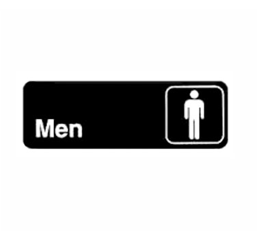 "Winco SGN-311, Information Sign, ""Men"", 3"" x 9"", Black - Kentucky Restaurant Supply"