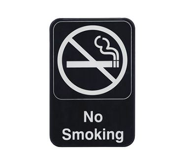 "Winco SGN-601, Information Sign, ""No Smoking"", 6"" x 9"", Black"