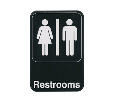 "Winco SGN-603, Information Sign, ""Restrooms"", 6"" x 9"", Black"