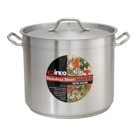 Winco SST-20 Stainless 20-Quart Steel Stock Pot with Cover - Kentucky Restaurant Supply