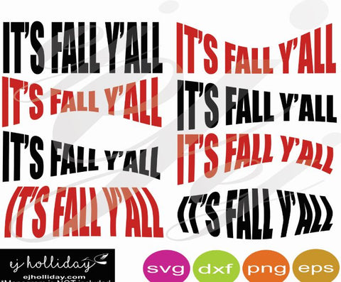It's Fall Y'all SVG EPS DXF PNG VECTOR Graphic Design Digital Cutting File Instant Download Cameo Silhouette Cricut