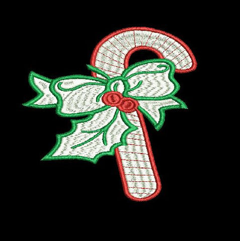 Candy Cane with Bow Embroidery Design 4X4 5X7