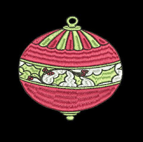 Christmas Ornament With Holly Embroidery Design