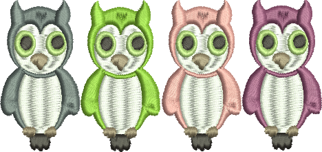 FOUR 4 OWLS Embroidery Design 4X4