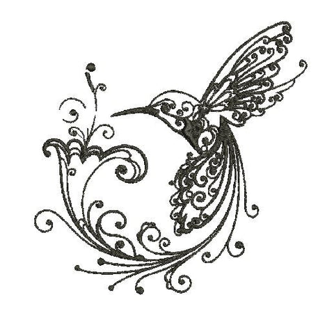 Fancy Hummingbird Machine Embroidery Design 4X4 5X7 6X10 8X12