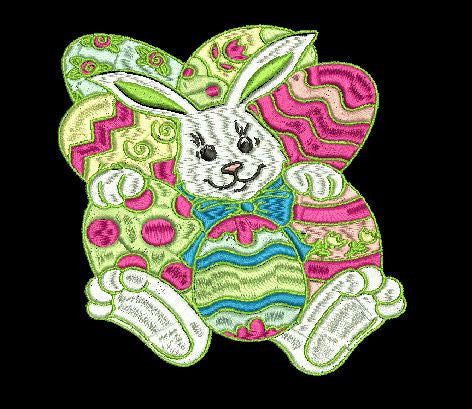 Happy Easter with the Easter Bunny Machine Embroidery Design 4X4, and 5X7 Hoop