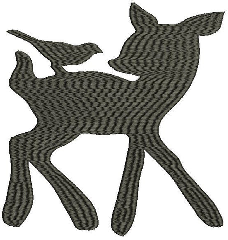 Baby Deer with Bird Machine Embroidery Design 2X2 3X3 4X4 5X7 8X12