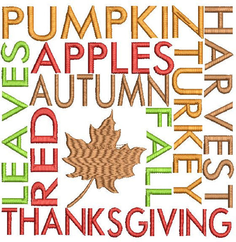 Thanksgiving Word Wall Machine Embroidery Design 3X3 4X4 5X7 8X12