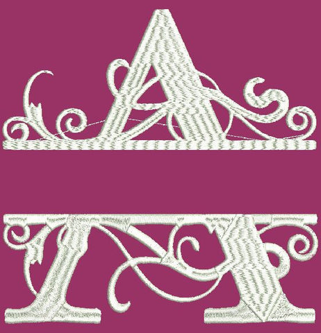Fancy Letter A Embroidery Design 4X4 5X7 and 8X12