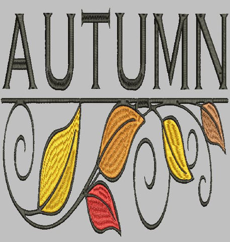 Autumn with Leaves Embroidery Design 3X3 4X4 5X7 8X12