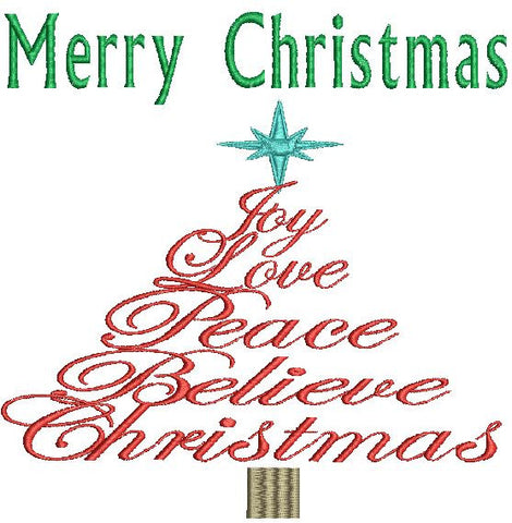 Merry Christmas Word Tree Embroidery Design