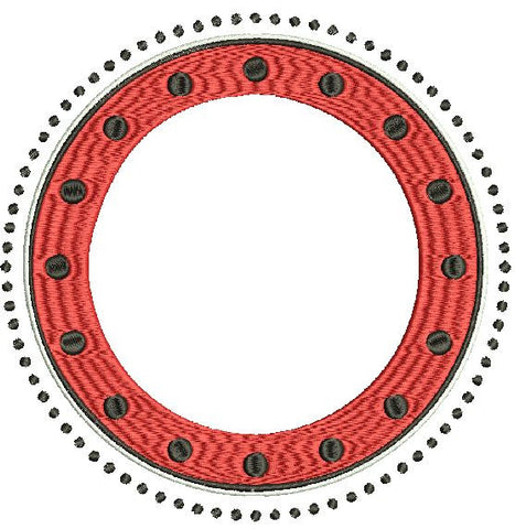 Circle Polka Dot Frame Machine Embroidery Design 4X4 5X7 6X10 and 8X12