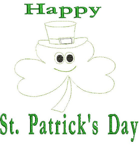 Happy St. Patrick's Day Machine Embroidery Design 4X4 8X12